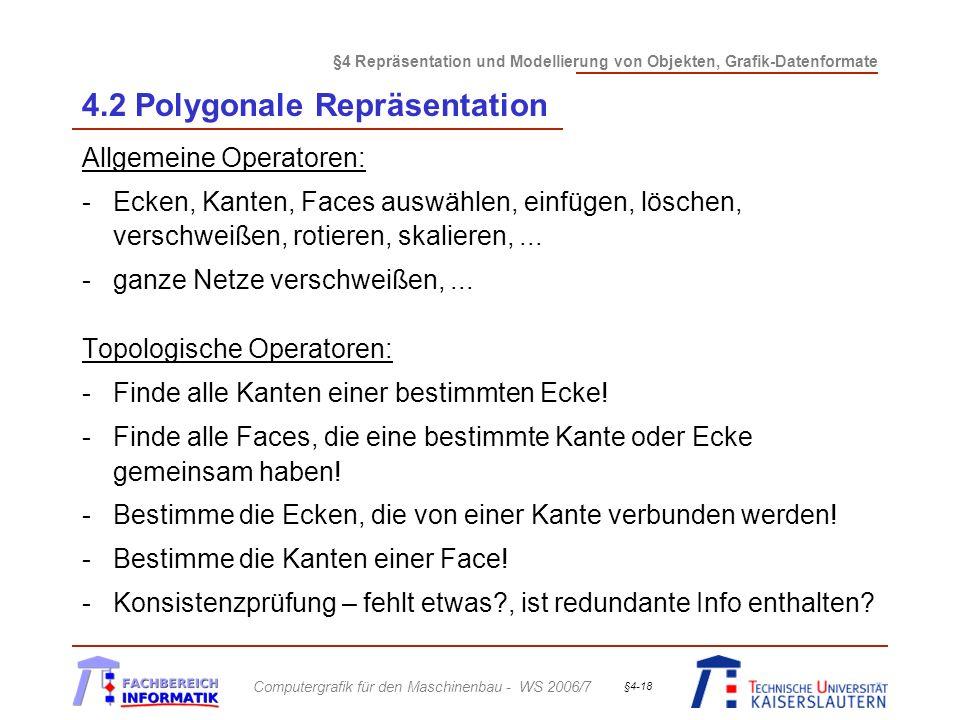 §4 Repräsentation und Modellierung von Objekten, Grafik-Datenformate Computergrafik für den Maschinenbau - WS 2006/7 §4-18 4.2 Polygonale Repräsentati