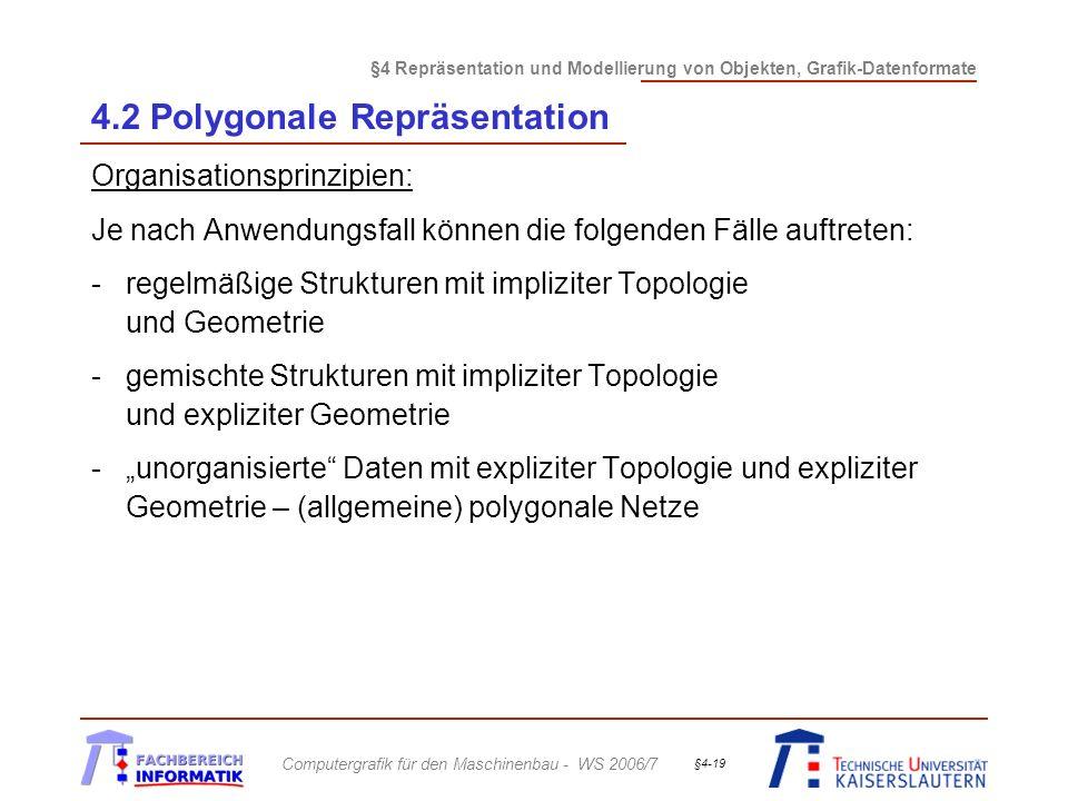 §4 Repräsentation und Modellierung von Objekten, Grafik-Datenformate Computergrafik für den Maschinenbau - WS 2006/7 §4-19 4.2 Polygonale Repräsentation Organisationsprinzipien: Je nach Anwendungsfall können die folgenden Fälle auftreten: -regelmäßige Strukturen mit impliziter Topologie und Geometrie -gemischte Strukturen mit impliziter Topologie und expliziter Geometrie -unorganisierte Daten mit expliziter Topologie und expliziter Geometrie – (allgemeine) polygonale Netze