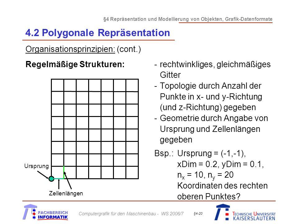 §4 Repräsentation und Modellierung von Objekten, Grafik-Datenformate Computergrafik für den Maschinenbau - WS 2006/7 §4-20 4.2 Polygonale Repräsentati