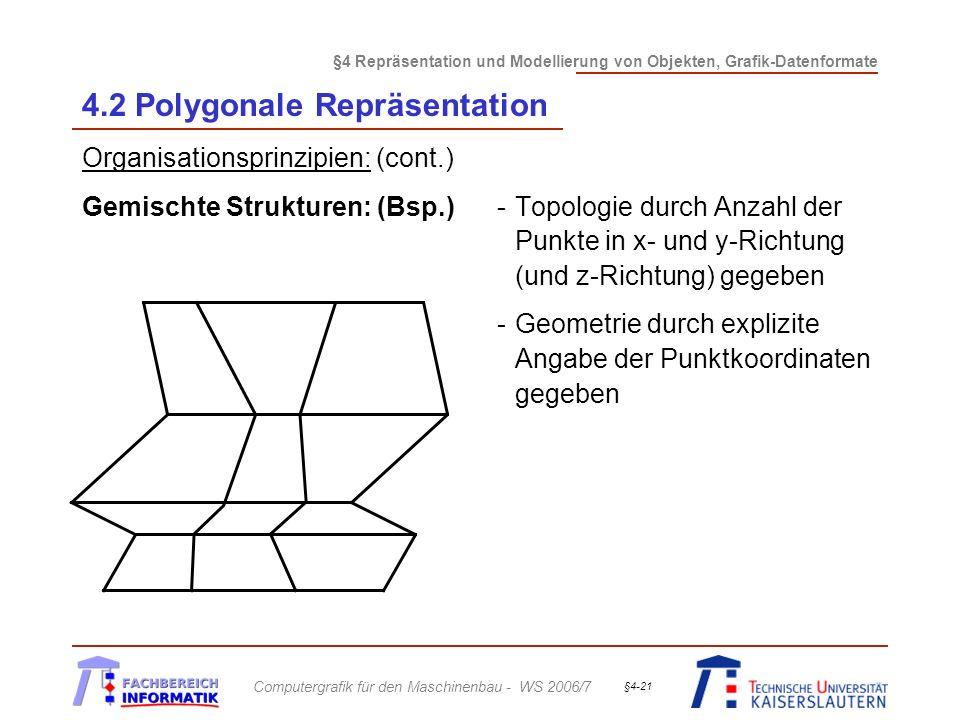 §4 Repräsentation und Modellierung von Objekten, Grafik-Datenformate Computergrafik für den Maschinenbau - WS 2006/7 §4-21 4.2 Polygonale Repräsentation Organisationsprinzipien: (cont.) Gemischte Strukturen: (Bsp.)-Topologie durch Anzahl der Punkte in x- und y-Richtung (und z-Richtung) gegeben -Geometrie durch explizite Angabe der Punktkoordinaten gegeben