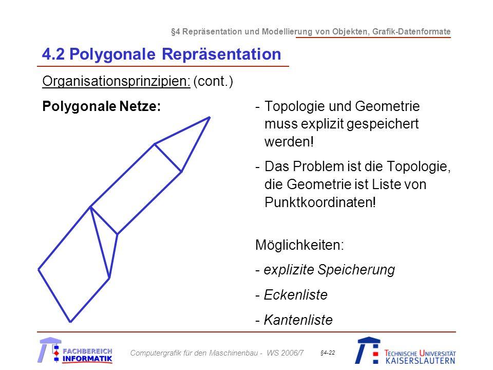 §4 Repräsentation und Modellierung von Objekten, Grafik-Datenformate Computergrafik für den Maschinenbau - WS 2006/7 §4-22 4.2 Polygonale Repräsentation Organisationsprinzipien: (cont.) Polygonale Netze:-Topologie und Geometrie muss explizit gespeichert werden.