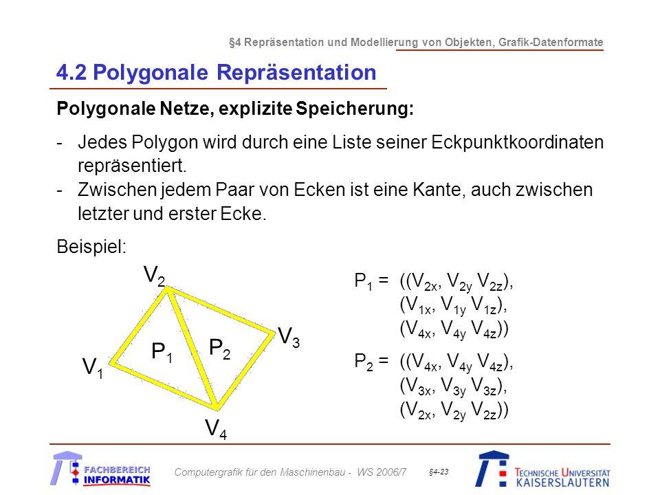§4 Repräsentation und Modellierung von Objekten, Grafik-Datenformate Computergrafik für den Maschinenbau - WS 2006/7 §4-23 4.2 Polygonale Repräsentati