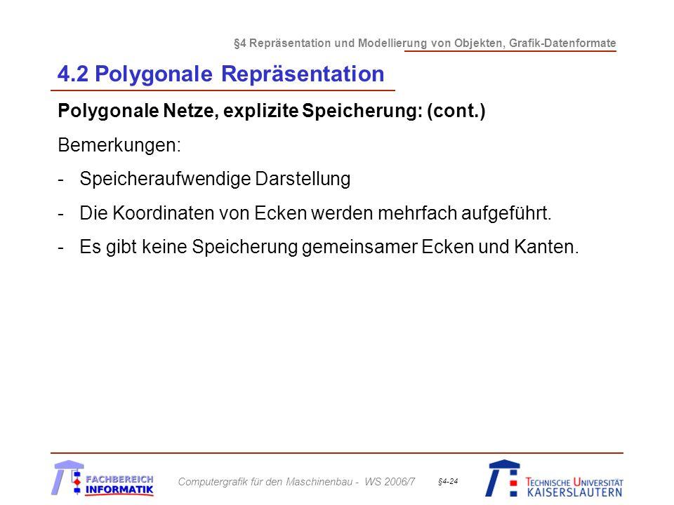 §4 Repräsentation und Modellierung von Objekten, Grafik-Datenformate Computergrafik für den Maschinenbau - WS 2006/7 §4-24 4.2 Polygonale Repräsentati