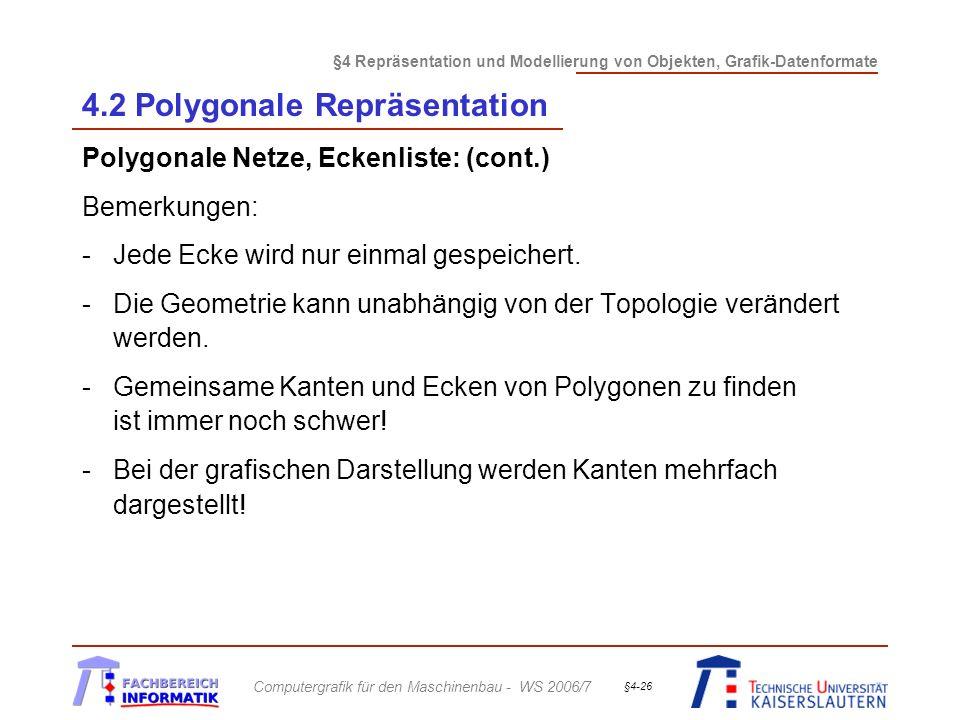 §4 Repräsentation und Modellierung von Objekten, Grafik-Datenformate Computergrafik für den Maschinenbau - WS 2006/7 §4-26 4.2 Polygonale Repräsentati
