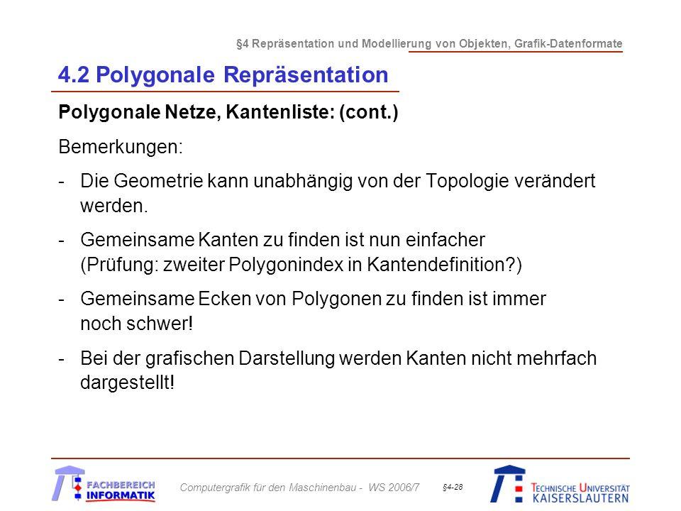 §4 Repräsentation und Modellierung von Objekten, Grafik-Datenformate Computergrafik für den Maschinenbau - WS 2006/7 §4-28 4.2 Polygonale Repräsentation Polygonale Netze, Kantenliste: (cont.) Bemerkungen: -Die Geometrie kann unabhängig von der Topologie verändert werden.