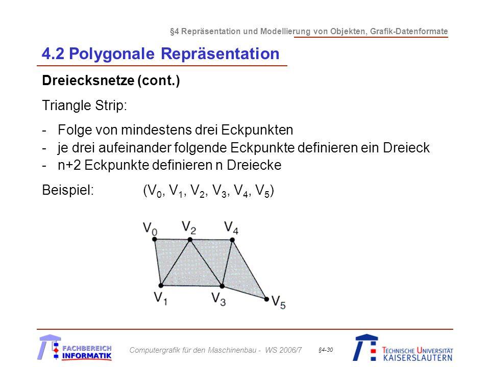 §4 Repräsentation und Modellierung von Objekten, Grafik-Datenformate Computergrafik für den Maschinenbau - WS 2006/7 §4-30 4.2 Polygonale Repräsentation Dreiecksnetze (cont.) Triangle Strip: -Folge von mindestens drei Eckpunkten -je drei aufeinander folgende Eckpunkte definieren ein Dreieck -n+2 Eckpunkte definieren n Dreiecke Beispiel: (V 0, V 1, V 2, V 3, V 4, V 5 )