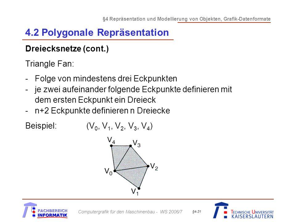 §4 Repräsentation und Modellierung von Objekten, Grafik-Datenformate Computergrafik für den Maschinenbau - WS 2006/7 §4-31 4.2 Polygonale Repräsentation Dreiecksnetze (cont.) Triangle Fan: -Folge von mindestens drei Eckpunkten -je zwei aufeinander folgende Eckpunkte definieren mit dem ersten Eckpunkt ein Dreieck -n+2 Eckpunkte definieren n Dreiecke Beispiel: (V 0, V 1, V 2, V 3, V 4 )