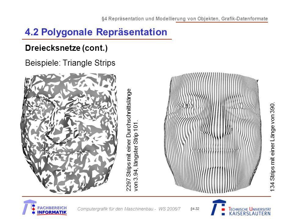 §4 Repräsentation und Modellierung von Objekten, Grafik-Datenformate Computergrafik für den Maschinenbau - WS 2006/7 §4-32 4.2 Polygonale Repräsentation Dreiecksnetze (cont.) Beispiele: Triangle Strips 134 Strips mit einer Länge von 390.
