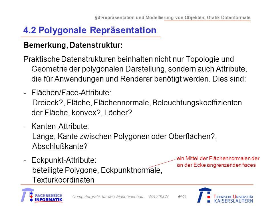§4 Repräsentation und Modellierung von Objekten, Grafik-Datenformate Computergrafik für den Maschinenbau - WS 2006/7 §4-33 4.2 Polygonale Repräsentati