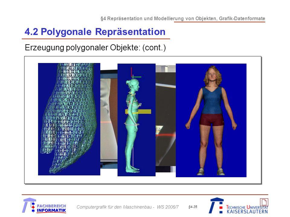 §4 Repräsentation und Modellierung von Objekten, Grafik-Datenformate Computergrafik für den Maschinenbau - WS 2006/7 §4-35 4.2 Polygonale Repräsentati