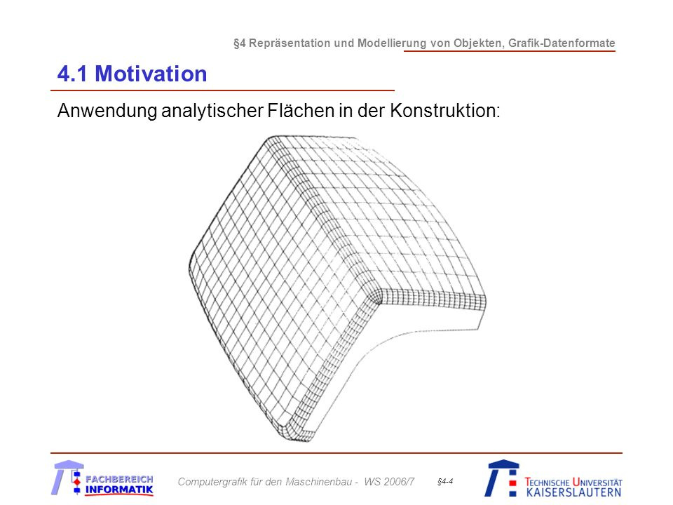 §4 Repräsentation und Modellierung von Objekten, Grafik-Datenformate Computergrafik für den Maschinenbau - WS 2006/7 §4-35 4.2 Polygonale Repräsentation Erzeugung polygonaler Objekte: (cont.) Automatische Verfahren hier: Laserscanner -Objekt wird rundherum scheibchenweise mit einem Laserstrahl abgetastet; dieser mißt den Abstand zur Objektoberfläche -aus den gemessenen 2D-Konturen werden mittels eines skinning-Algorithmus, der geeignet benachbarte Punkte verbindet, Dreiecksflächen erzeugt (Abb.