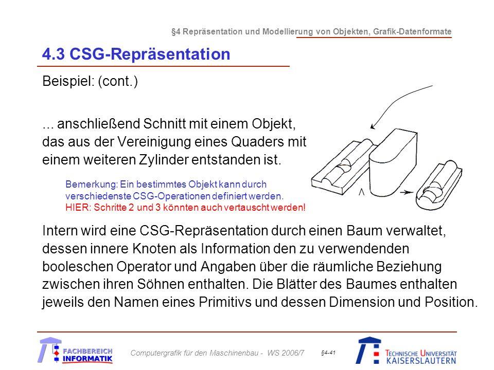 §4 Repräsentation und Modellierung von Objekten, Grafik-Datenformate Computergrafik für den Maschinenbau - WS 2006/7 §4-41 4.3 CSG-Repräsentation Beispiel: (cont.)...