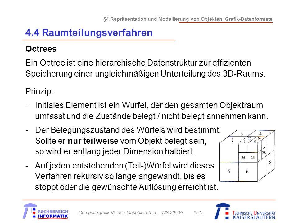 §4 Repräsentation und Modellierung von Objekten, Grafik-Datenformate Computergrafik für den Maschinenbau - WS 2006/7 §4-44 4.4 Raumteilungsverfahren O