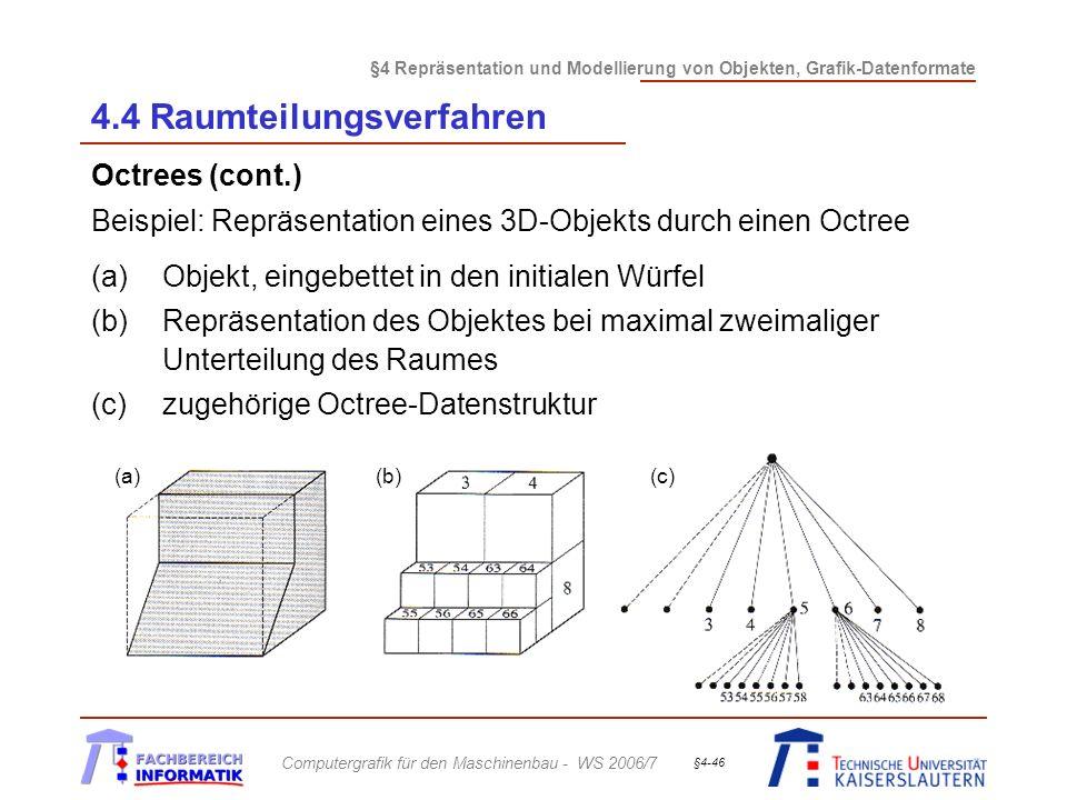 §4 Repräsentation und Modellierung von Objekten, Grafik-Datenformate Computergrafik für den Maschinenbau - WS 2006/7 §4-46 4.4 Raumteilungsverfahren Octrees (cont.) Beispiel: Repräsentation eines 3D-Objekts durch einen Octree (a)Objekt, eingebettet in den initialen Würfel (b)Repräsentation des Objektes bei maximal zweimaliger Unterteilung des Raumes (c)zugehörige Octree-Datenstruktur (a)(b)(c)