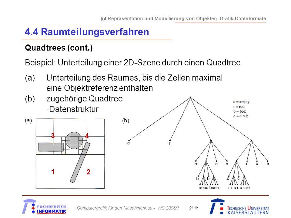 §4 Repräsentation und Modellierung von Objekten, Grafik-Datenformate Computergrafik für den Maschinenbau - WS 2006/7 §4-49 4.4 Raumteilungsverfahren Quadtrees (cont.) Beispiel: Unterteilung einer 2D-Szene durch einen Quadtree (a)Unterteilung des Raumes, bis die Zellen maximal eine Objektreferenz enthalten (b)zugehörige Quadtree -Datenstruktur (a)(b) 1 2 3 4