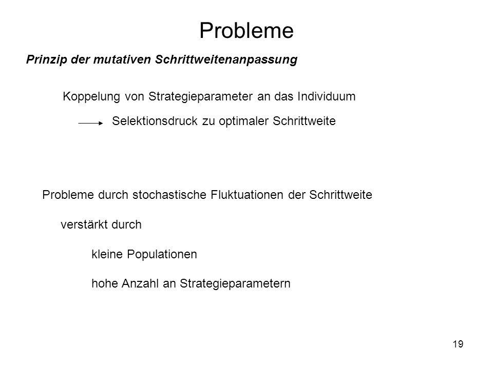 19 Probleme Koppelung von Strategieparameter an das Individuum Selektionsdruck zu optimaler Schrittweite Probleme durch stochastische Fluktuationen de