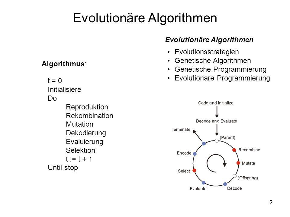2 t = 0 Initialisiere Do Reproduktion Rekombination Mutation Dekodierung Evaluierung Selektion t := t + 1 Until stop Algorithmus: Evolutionäre Algorit