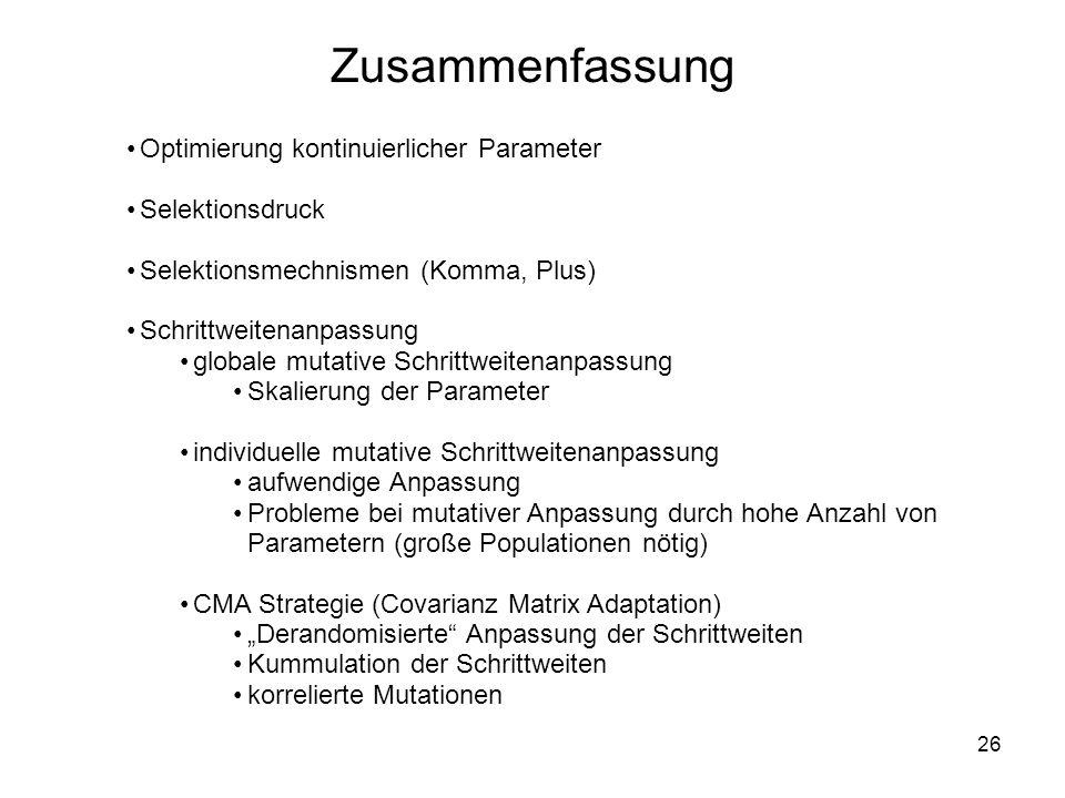 26 Optimierung kontinuierlicher Parameter Selektionsdruck Selektionsmechnismen (Komma, Plus) Schrittweitenanpassung globale mutative Schrittweitenanpa