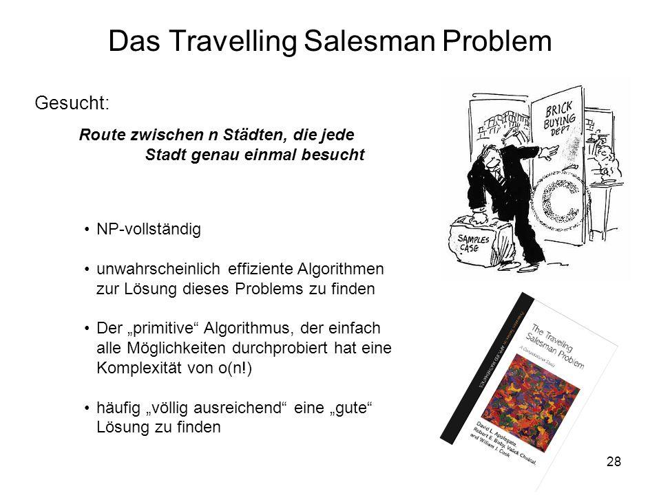28 Gesucht: NP-vollständig unwahrscheinlich effiziente Algorithmen zur Lösung dieses Problems zu finden Der primitive Algorithmus, der einfach alle Mö