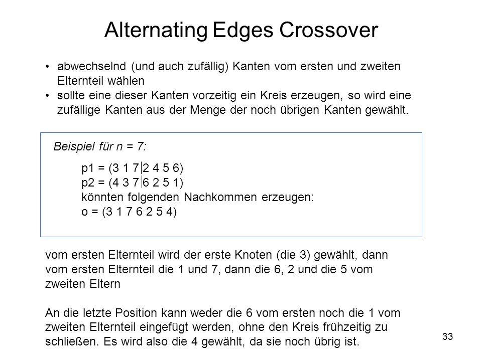 33 abwechselnd (und auch zufällig) Kanten vom ersten und zweiten Elternteil wählen sollte eine dieser Kanten vorzeitig ein Kreis erzeugen, so wird ein