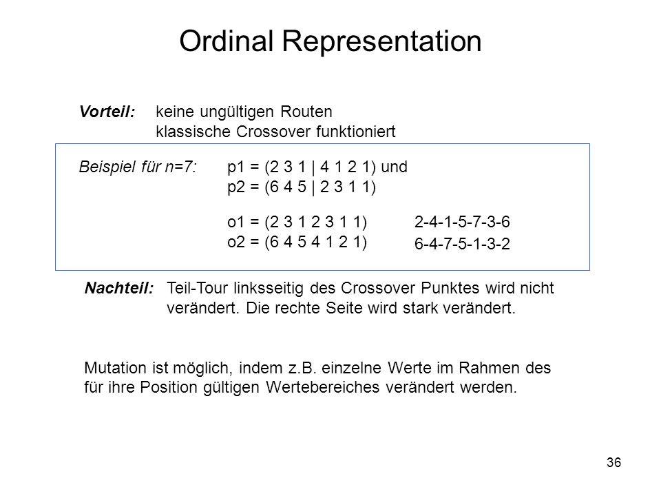 36 Ordinal Representation Vorteil: p1 = (2 3 1 | 4 1 2 1) und p2 = (6 4 5 | 2 3 1 1) o1 = (2 3 1 2 3 1 1) o2 = (6 4 5 4 1 2 1) 2-4-1-5-7-3-6 6-4-7-5-1