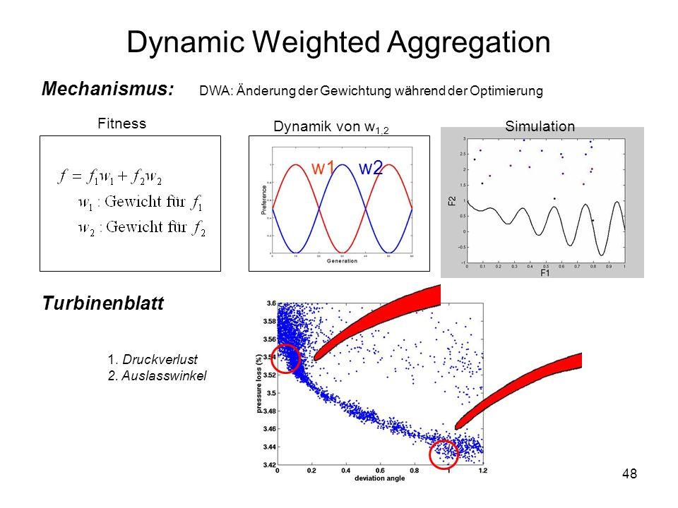 48 DWA: Änderung der Gewichtung während der Optimierung Mechanismus: Dynamik von w 1,2 Dynamic Weighted Aggregation w1w2 Fitness Turbinenblatt 1. Druc