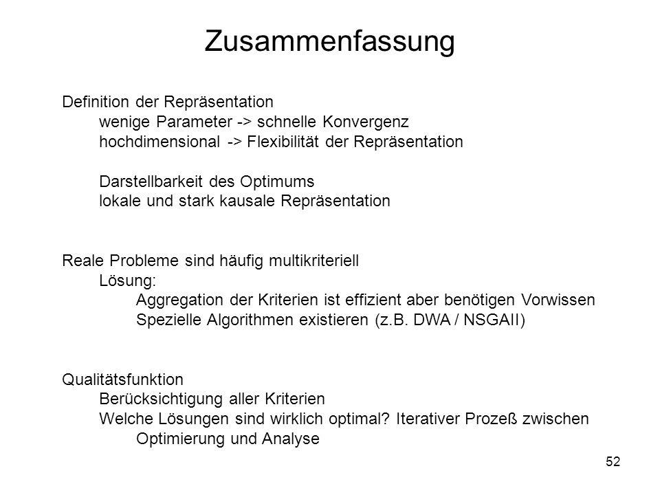 52 Zusammenfassung Definition der Repräsentation wenige Parameter -> schnelle Konvergenz hochdimensional -> Flexibilität der Repräsentation Darstellba