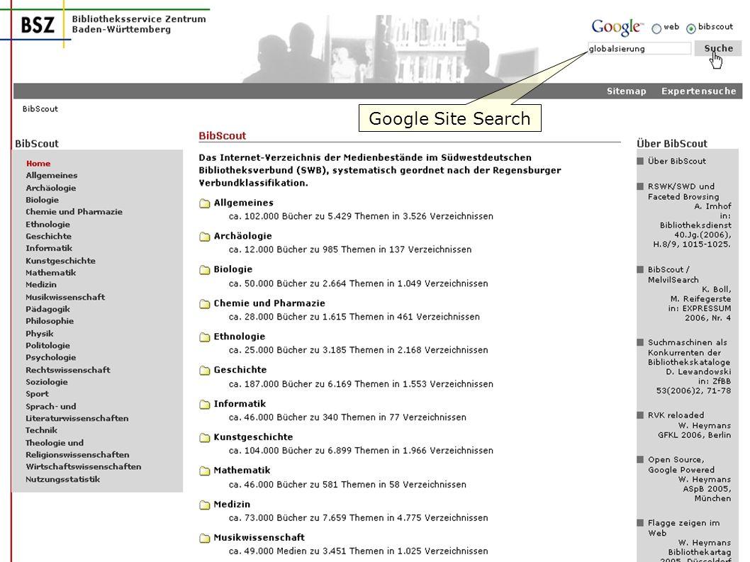 W. Heymans, BSZ: BibScout 13 Google Site Search