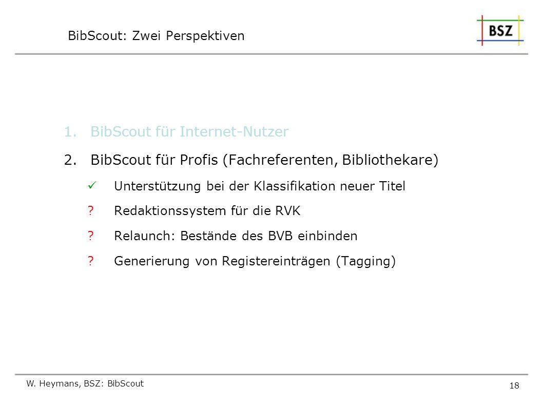 W. Heymans, BSZ: BibScout 18 BibScout: Zwei Perspektiven 1.BibScout für Internet-Nutzer 2.BibScout für Profis (Fachreferenten, Bibliothekare) Unterstü