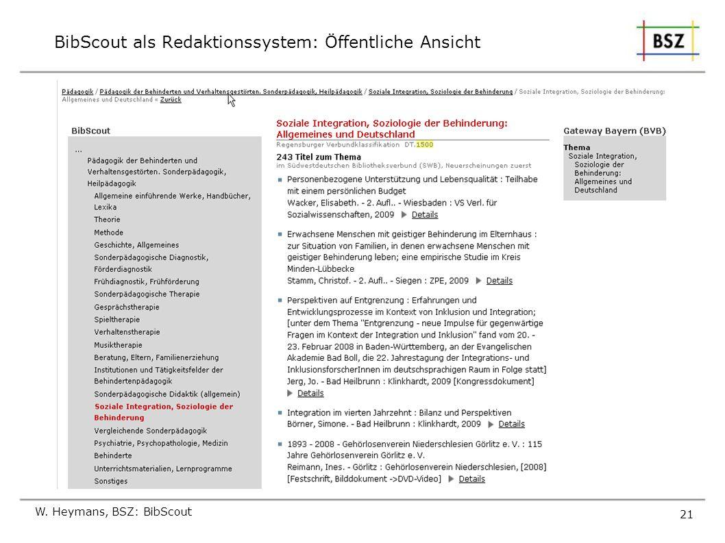 W. Heymans, BSZ: BibScout 21 BibScout als Redaktionssystem: Öffentliche Ansicht