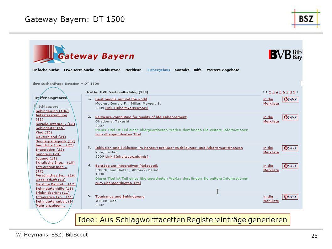 Gateway Bayern: DT 1500 W. Heymans, BSZ: BibScout 25 Idee: Aus Schlagwortfacetten Registereinträge generieren