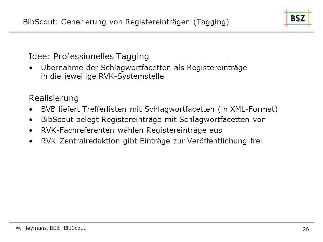 W. Heymans, BSZ: BibScout 26 BibScout: Generierung von Registereinträgen (Tagging) Idee: Professionelles Tagging Übernahme der Schlagwortfacetten als