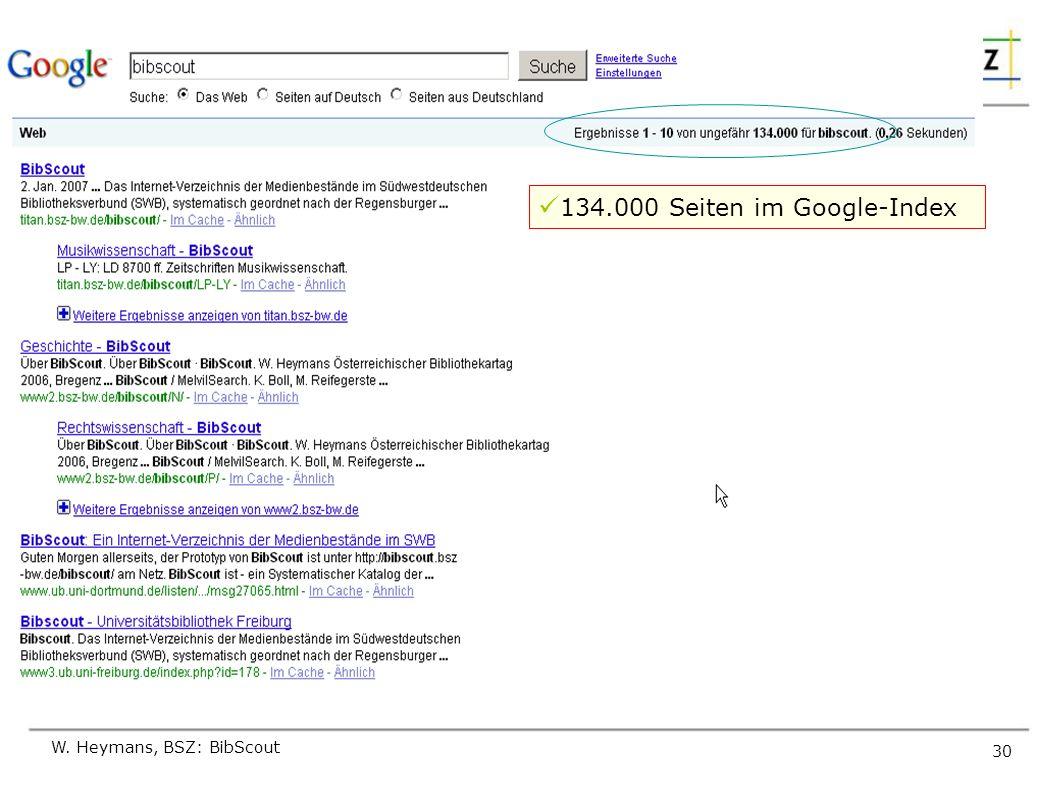 W. Heymans, BSZ: BibScout 30 Experiment 1 134.000 Seiten im Google-Index