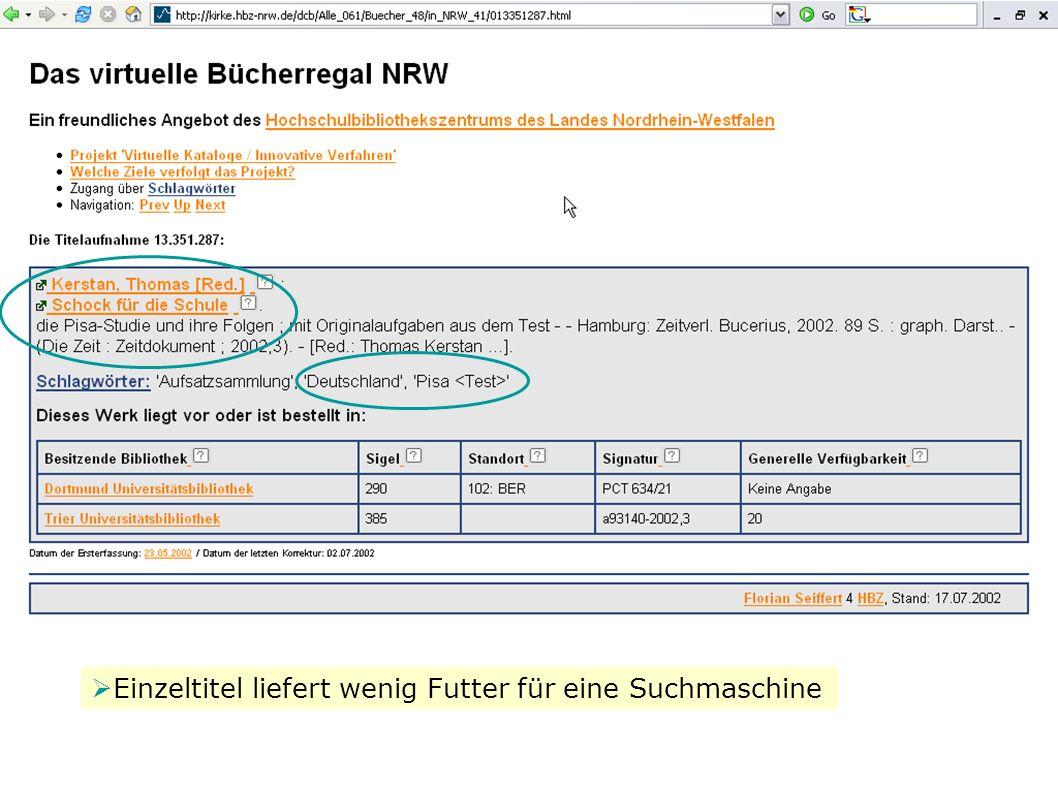 W. Heymans, BSZ: BibScout 8 Die Vorbilder Einzeltitel liefert wenig Futter für eine Suchmaschine