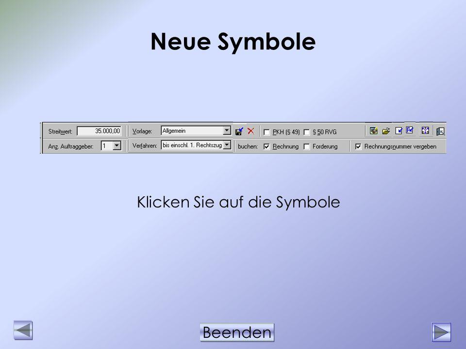 Beenden Neue Symbole Klicken Sie auf die Symbole