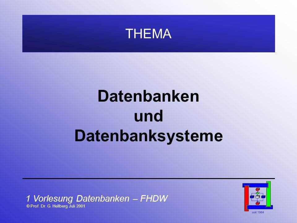 1 Vorlesung Datenbanken – FHDW © Prof. Dr. G. Hellberg Juli 2001 THEMA Datenbanken und Datenbanksysteme