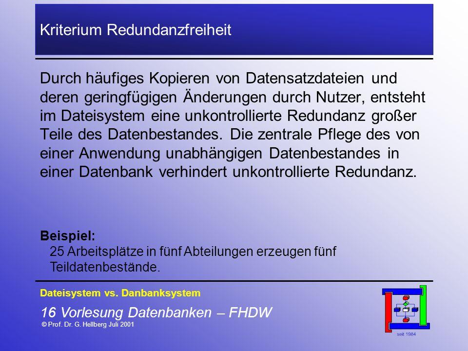 16 Vorlesung Datenbanken – FHDW © Prof. Dr. G. Hellberg Juli 2001 Kriterium Redundanzfreiheit Durch häufiges Kopieren von Datensatzdateien und deren g