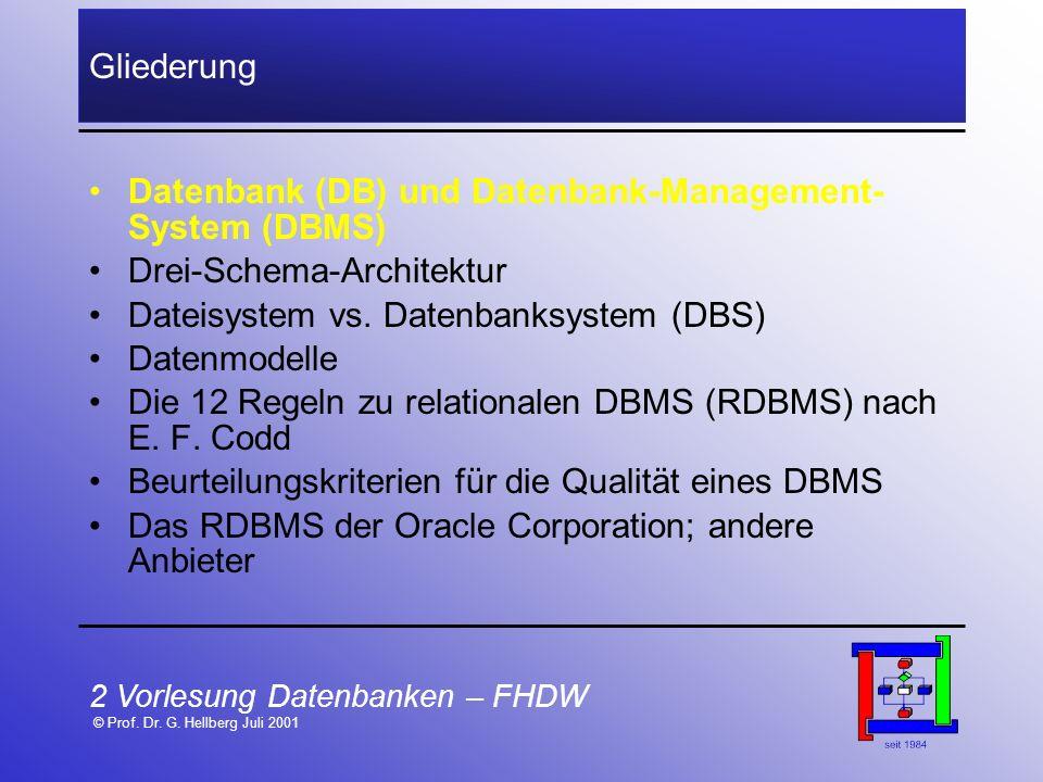2 Vorlesung Datenbanken – FHDW © Prof. Dr. G. Hellberg Juli 2001 Gliederung Datenbank (DB) und Datenbank-Management- System (DBMS) Drei-Schema-Archite