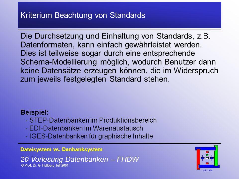 20 Vorlesung Datenbanken – FHDW © Prof. Dr. G. Hellberg Juli 2001 Kriterium Beachtung von Standards Die Durchsetzung und Einhaltung von Standards, z.B