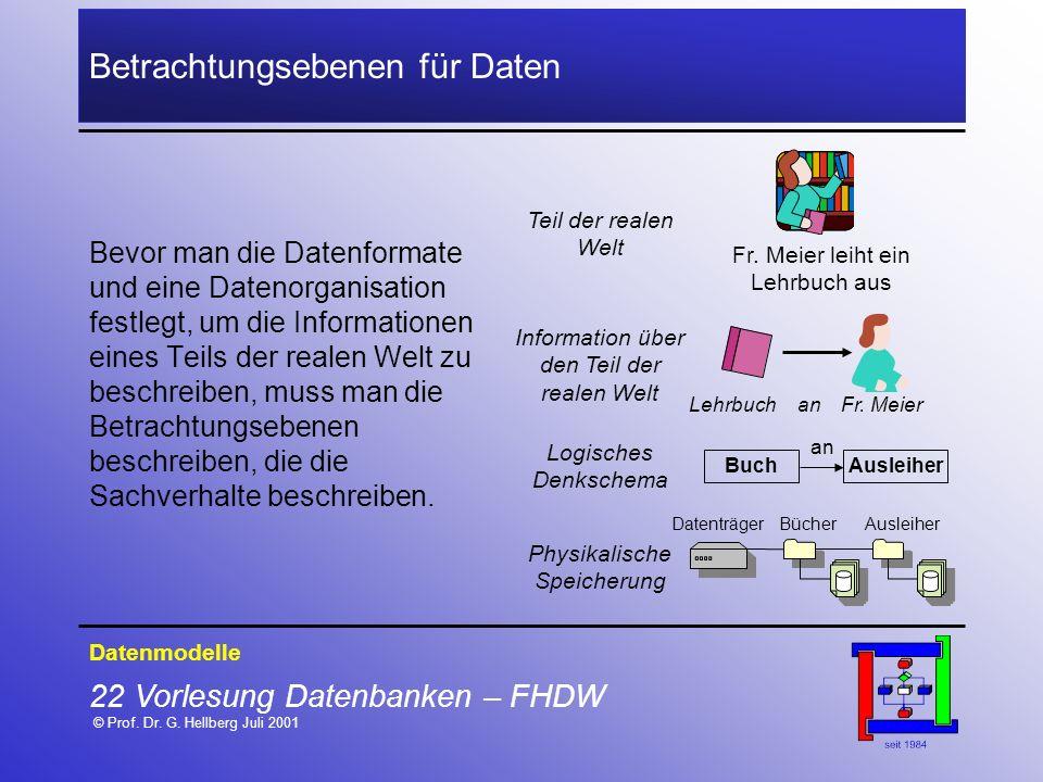 22 Vorlesung Datenbanken – FHDW © Prof. Dr. G. Hellberg Juli 2001 Betrachtungsebenen für Daten Bevor man die Datenformate und eine Datenorganisation f