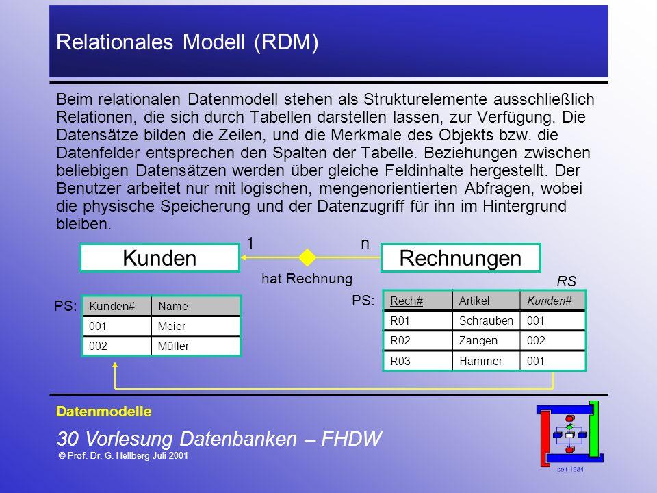 30 Vorlesung Datenbanken – FHDW © Prof. Dr. G. Hellberg Juli 2001 Relationales Modell (RDM) Datenmodelle Beim relationalen Datenmodell stehen als Stru