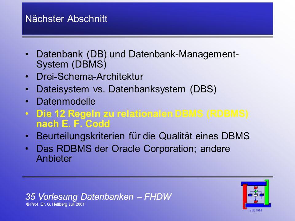 35 Vorlesung Datenbanken – FHDW © Prof. Dr. G. Hellberg Juli 2001 Nächster Abschnitt Datenbank (DB) und Datenbank-Management- System (DBMS) Drei-Schem