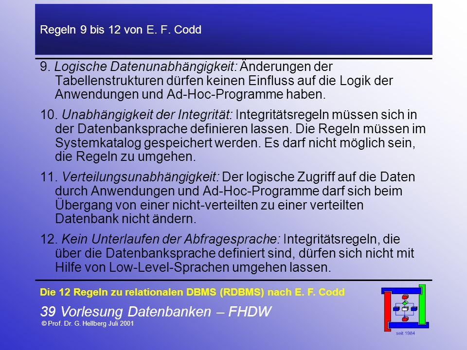 39 Vorlesung Datenbanken – FHDW © Prof. Dr. G. Hellberg Juli 2001 Regeln 9 bis 12 von E. F. Codd 9. Logische Datenunabhängigkeit: Änderungen der Tabel
