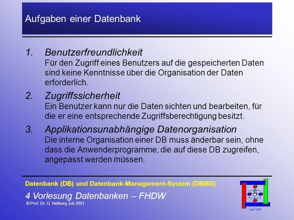 4 Vorlesung Datenbanken – FHDW © Prof. Dr. G. Hellberg Juli 2001 Aufgaben einer Datenbank 1.Benutzerfreundlichkeit Für den Zugriff eines Benutzers auf