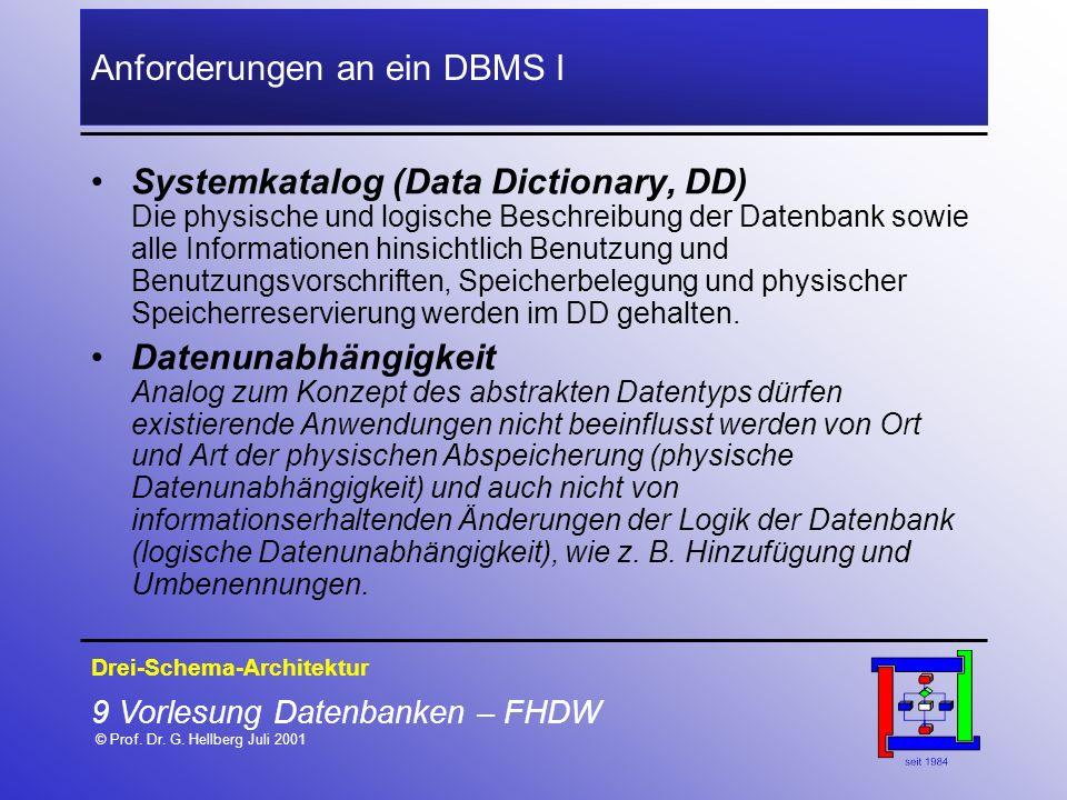 9 Vorlesung Datenbanken – FHDW © Prof. Dr. G. Hellberg Juli 2001 Anforderungen an ein DBMS I Drei-Schema-Architektur Systemkatalog (Data Dictionary, D