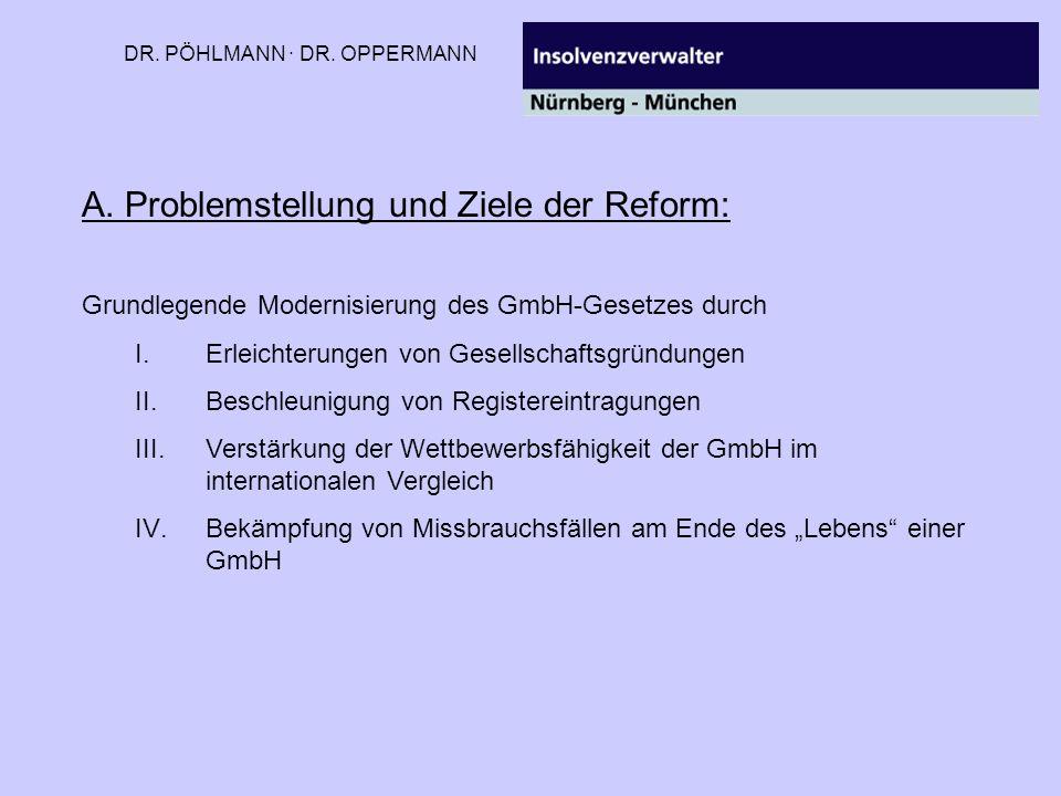 DR. PÖHLMANN · DR. OPPERMANN A. Problemstellung und Ziele der Reform: Grundlegende Modernisierung des GmbH-Gesetzes durch I.Erleichterungen von Gesell