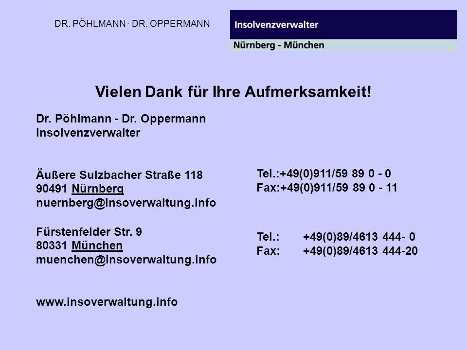 DR. PÖHLMANN · DR. OPPERMANN Vielen Dank für Ihre Aufmerksamkeit! Dr. Pöhlmann - Dr. Oppermann Insolvenzverwalter Äußere Sulzbacher Straße 118 90491 N