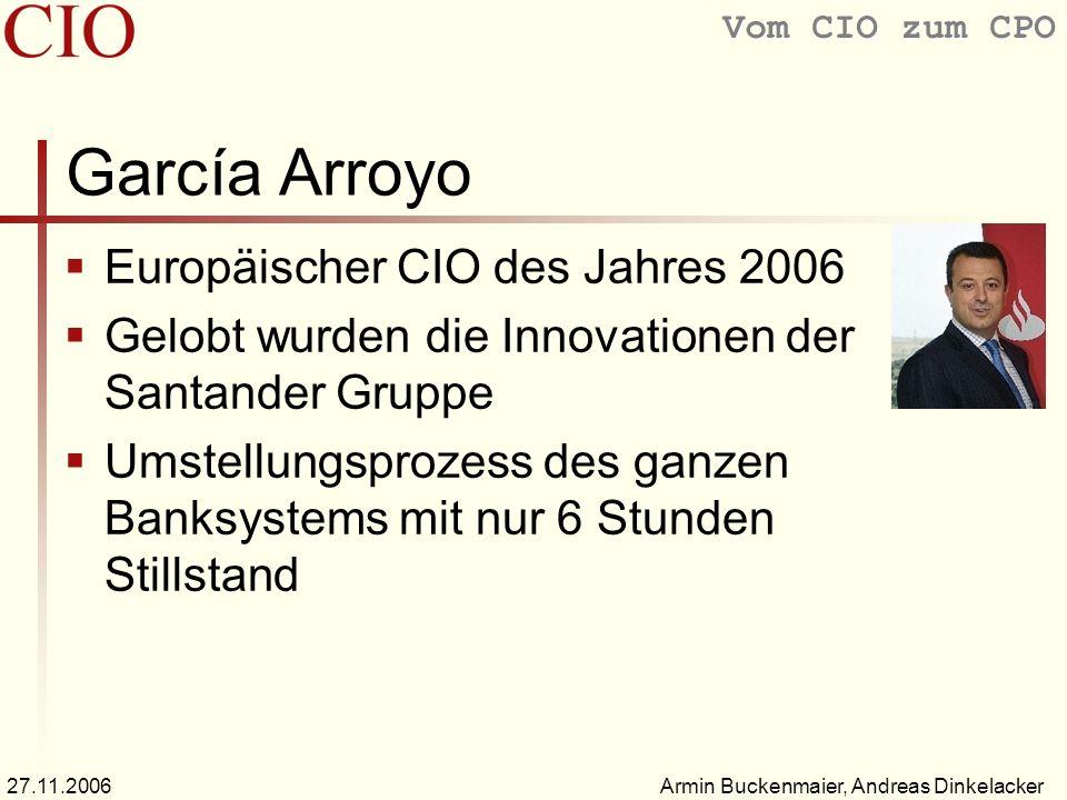Vom CIO zum CPO Armin Buckenmaier, Andreas Dinkelacker27.11.2006 García Arroyo Europäischer CIO des Jahres 2006 Gelobt wurden die Innovationen der San
