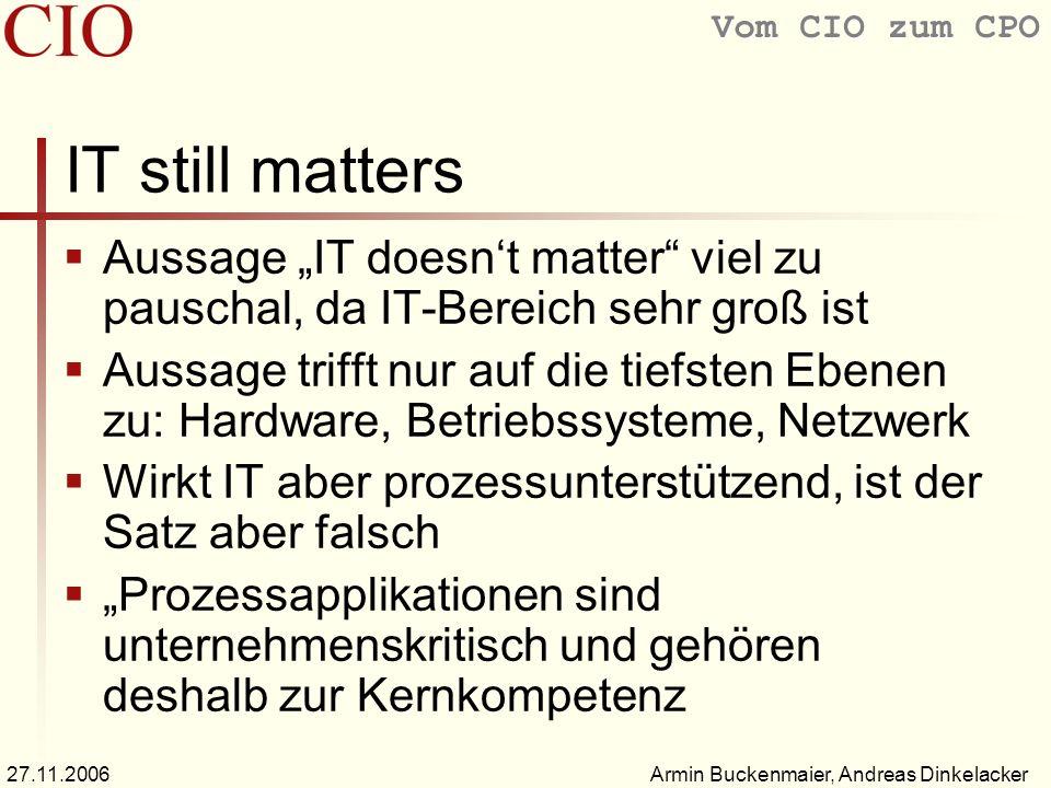 Vom CIO zum CPO Armin Buckenmaier, Andreas Dinkelacker27.11.2006 Was ist der CIO zu deutsch etwa Leiter für Informationstechnologie Aufgaben der strategischen und operativen Führung der Informationstechnologie (IT) Auch: Leiter Informationstechnologie, IT- Leiter oder EDV-Leiter In Aktiengesellschaften auch: IT-Vorstand
