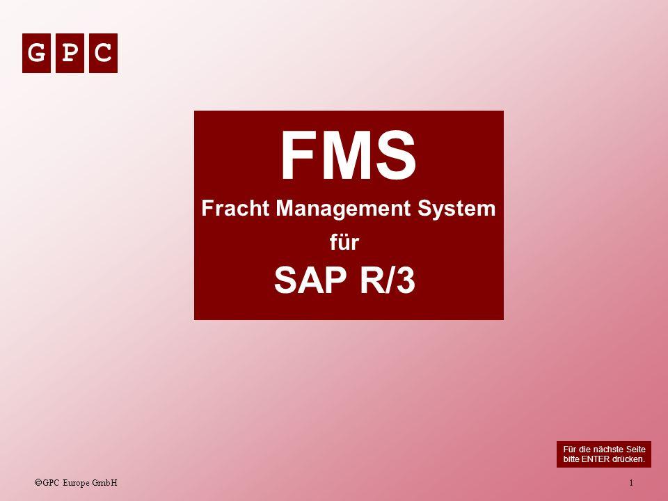 GPC GPC Europe GmbH 2 FMS Die FMS Anwendung läuft automatisiert im Hintergrund auf einem SAP R/3 System im Batch ab und kann vom Anwender individuell und auftragsbezogen editiert werden.